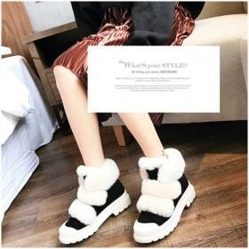 魔术贴毛毛鞋冬季棉鞋真皮面中筒靴子加绒短靴女