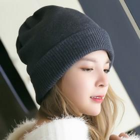秋冬羊毛针织帽双层加厚纯色套头护耳保暖冷帽月子毛线