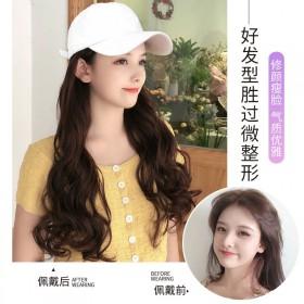 假发女长发假发帽子一体女夏天时尚长卷发帽子带假发网
