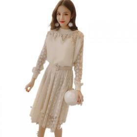 连衣裙女蕾丝2019秋季新款韩版修身中长款高腰圆领