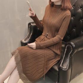秋装新款女装时尚修身针织连衣裙蕾丝拼接韩版中长款毛