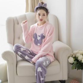法兰绒睡衣女秋冬季加厚长袖卡通可外穿保暖珊瑚绒家居