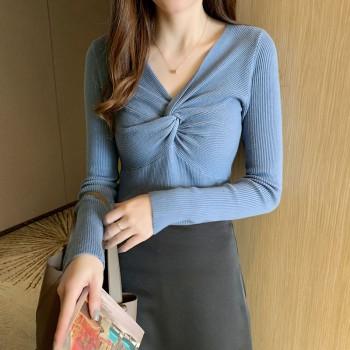 棉麻针织短袖女短款很仙黑色夏季韩版ins显v领长袖