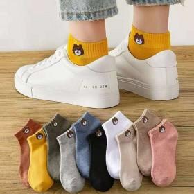 袜子女10双小熊船袜日系女士短筒棉袜子春秋情侣袋装