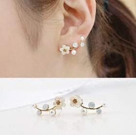 花朵耳钉女镀银珍珠时尚树枝韩版饰品树叶贝壳耳环