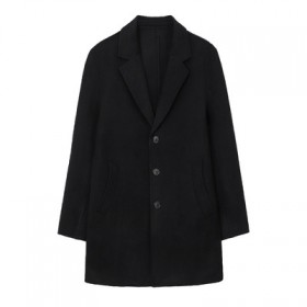 青年休闲中长款72%羊毛羊双面呢大衣外套男装D4J