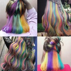 染发剂挑染彩色染发膏渐变色漂粉彩虹裙摆隐藏染绿色一