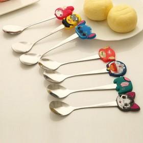 不锈钢家用儿童勺 雪糕冰淇淋勺子 创意餐具硅胶手柄