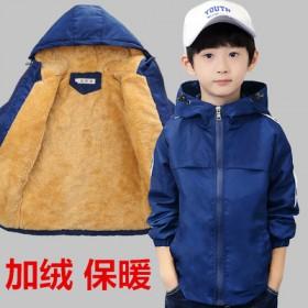 加绒加厚上衣冲锋衣两面穿男童外套夹克韩版休闲童装