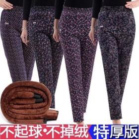 驼绒棉裤冬季款中老年女老人高腰加绒加厚加大码宽松三