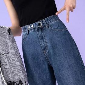 牛仔裤女2019秋季新款韩版宽松学百搭直筒裤高腰显