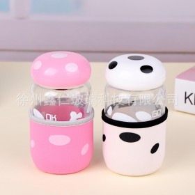 蘑菇杯女生水杯防烫卡通礼品杯定做男学生可爱玻璃杯