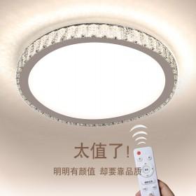 超薄輕奢LED簡約現代不銹鋼水晶吸頂燈溫馨