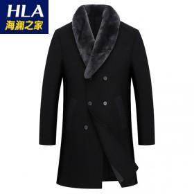 海澜之家95%羊毛大衣兔毛毛领秋冬加厚保暖毛呢大衣