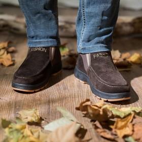 冬季雪地靴新款男士棉鞋加绒保暖防滑加绒套筒爸爸棉靴