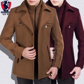 新款男士秋冬季外套男毛呢夹克男立领加棉加厚大衣修身