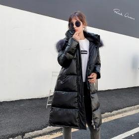 时尚气质百搭大毛领亮面棉服长款女过膝加长款棉衣外套