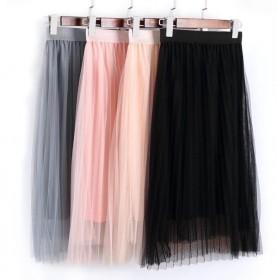 春夏季新款百褶网纱半身裙中长裙女学生高腰显瘦