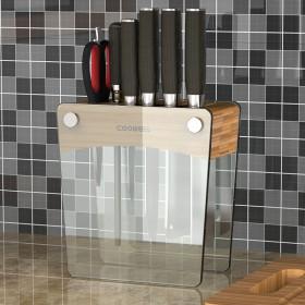 钢化玻璃刀架通风透气厨房置物架刀座刀具收纳架