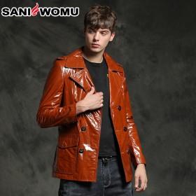 萨尼原生态皮衣男式双排扣男西服 皮西服 中长款修身