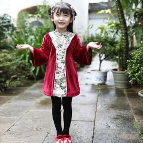 女童旗袍长袖秋季红色复古中式立领加厚中小童儿童唐装