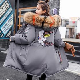 韩版棉衣女中长款2019新款宽松大毛领羽绒棉服外套