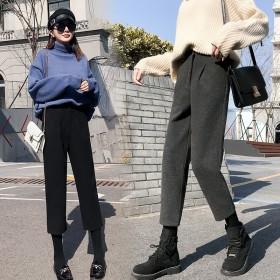女装裤子2019新款潮哈伦裤子女秋冬复古港味高腰显