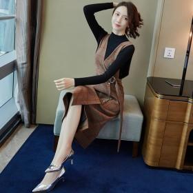 时尚女装秋冬新款韩版清新甜美长袖毛衣中长裙子两件套