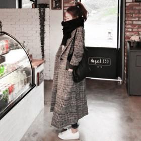 千格鸟羊毛呢大衣女2019韩版宽松bf简约呢子外套
