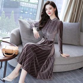 新款金丝绒韩版连衣裙长袖修身显瘦中长款打底条纹裙