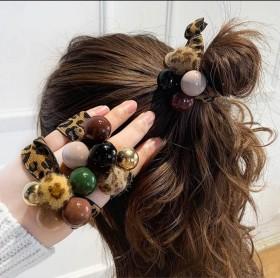 韩国简约头绳豹纹珍珠镶钻发圈扎头发皮筋网红丸子头皮