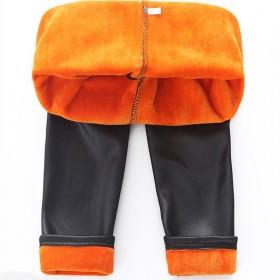 女童冬装裤子加绒加厚打底裤儿童秋女宝宝黑色外穿仿皮