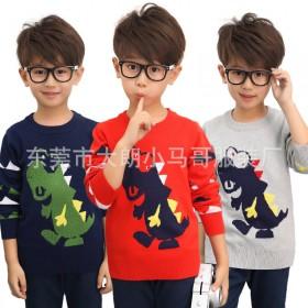 男童毛衣圆领套头恐龙棉线衣双层加厚打底衫秋冬儿童2
