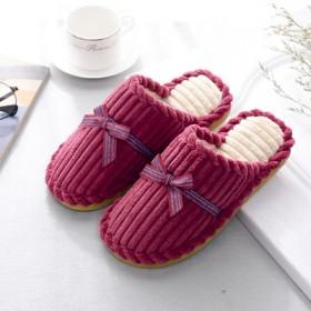 经典居家棉拖鞋冬季保暖灯芯绒拖鞋蝴蝶结简约防滑拖