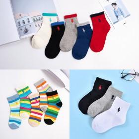 新款童袜秋冬韩版手工缝头男童女童袜子纯色绣花精梳中