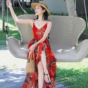 丽江民族风红色连衣裙泰国沙滩裙