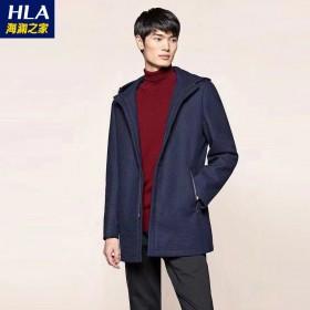 海澜之家冬季男士加厚保暖毛呢大衣中长款外套955