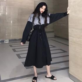 秋冬韩版运动风收腰中长款拼接卫衣连衣裙