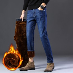 冬季加绒加厚牛仔裤男宽松直筒厚款青年男裤