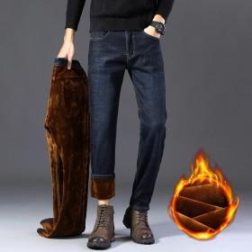 冬季直筒寬松牛仔褲男加絨加厚男士褲子青年休閑牛仔褲