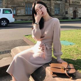 2019秋季网红毛衣女包芯纱套头中长款收腰显瘦长