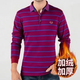 秋冬季新款POLO衫长袖加绒翻领条纹衬衣大码弹力保