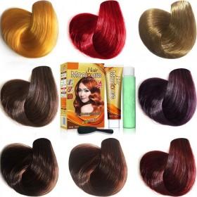 送工具彩色染发剂栗棕色咖啡色酒红色亚麻色紫色盖白发
