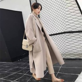 毛呢外套女中长款韩版百搭宽松小清新呢子大衣冬款