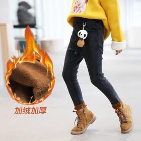 女童加绒裤子外穿洋气冬季中大童牛仔裤一体绒小脚裤