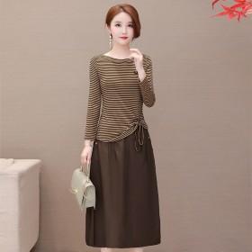 两件套连衣裙组合套装咖啡色中长款显瘦减龄A字裙