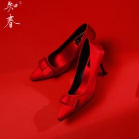 婚鞋女红色高跟新娘鞋2019新款秋尖头简约细跟蝴蝶