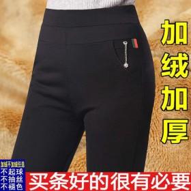 加绒秋冬外穿打底裤女高腰大码黑色裤子高腰休闲裤