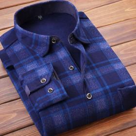 加绒加厚 】秋冬男士保暖加绒加厚长袖衬衫格子外套衣