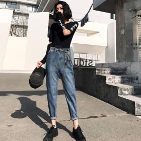 高腰牛仔裤女秋装2019年新款直筒宽松萝卜阔腿裤子